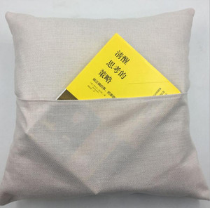 NEW 40*40cm Sublimation Blank Book Pocket Pillow Solid Color DIY Polyester Linen Cushion Cover Home Decor free ship