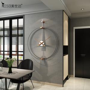 Diseño de metal MEISD diseño moderno pared del hierro labrado Calidad del reloj del Reloj de cuarzo reloj europeo pared Negro caliente libre de la venta