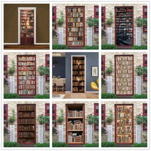 3D Vinyl Bookcase Door Sticker Wallpaper For Bedroom Study Decoration Adhesive DIY Library Poster Home Design Wall Decor Murals