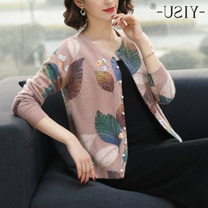 YISU Fashion leaf print women knitted sweater O-neck buttons short cardigan jumper Casual female ladies outwear