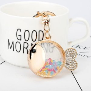 Fish Crystal Rhinestone Keychains Colorful Bead Fish Glass Bottle Charm Pendant Car Key Ring Women Car Bag Handbag Key Chain1