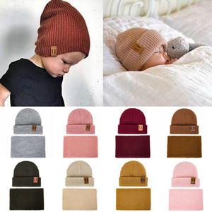 MLTBB Scarf Set For Kids Men Women Solid Color Knit Beanies Hat Boys Girls Warm Ring Scarves Parent-child Winter Hats