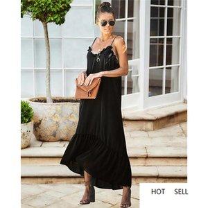 Kleid mit Piping Weibliche Panelled Spaghetti-Streifen Kleider beiläufige Damen Kleider Art und Weise Backless Kleider Sommer-Frauen-Fest