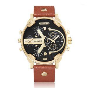 Armbanduhren Dual Display Herrenuhren Army Relogios Masculino Cagarny Big Gold Case Mode Quarzuhr Für Männer Casual männlich uhr1