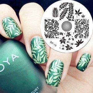 BORN Folhas bonito Tema Nail Art Stamp imagem modelo de placa BP19 OIZn #