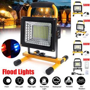 500/800 / 900W LED Spotlight portátil recargable impermeable del reflector con pilas Reflector al aire libre Trabajo de la lámpara que acampa