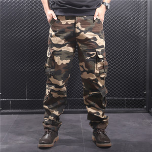Thoshine Brand Men Casual Cargo Pants Straight 95% Cotton Many Pockets Camouflage Military Trousers Loose Oversize Plus Size 201111