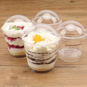 200ml Transparent Tiramisu Ice Cream Cup Plastic Mousse Cake Cup Disposable Jelly Cup with Cover Pudding Dessert Sets Party Supplies AHE2003