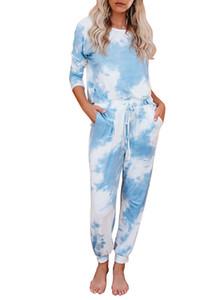 APPESHION Women's Tie Dye Two Piece Pajamas Set Long Sleeve Sweatshirt with Long Pants Sleepwear with Pockets