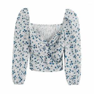 Klacwaya Sexy Imprimer Blouse à manches courtes Femme Automne Femmes Courtes Crop Tops Été Élégant Casual Blusas Filles Top1