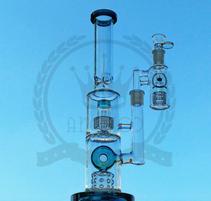 Glass Bongs Swiss Perc Recycler Water Pipes 18mm Joint Fab Egg Oil Dab Rig Showerhead Perc Hookahs Pipes