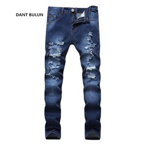 2021 Nueva moda Hombres Hombres Agujeros Jeans European High Street Motorcycle Biker Jeans Men Hip Hop Ripped Slim Pants Dropshipping