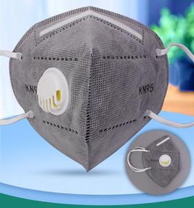 KN95 Maske grau FFP2 Fabrik 95% Filter Gesichtsmaske Erwachsene English Packages Aktiviert Kohlenstoff Atmungsmaske Ventil 5 Schicht Mund Maske
