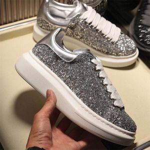 رجل منصة أحذية رياضية المرأة الكلاسيكية الماس بالكامل أحذية بيضاء أعلى جودة الجلود الأزياء منصة الأحذية العصرية مصمم الأحذية عارضة
