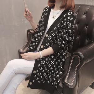 2020 designer de luxo mulheres botão -Pescoço de sweaterWomen senhora Long Sleeve Cardigan camisola Oversize Luxo da mulher roupas mulheres ponte