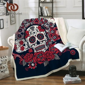 BeddingOutlet Sugar Skull Manta Rosas Microfibra Sherpa Sofá Tiro Manta Floral Impreso Rojo Ropa de cama Gótica Mantas Para CAMA 201222