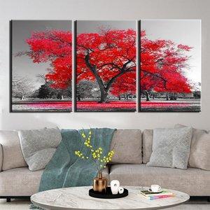 3 Stück Leinwand-Wand-Kunst Pictures Home-Dekor-Rahmen Abstrakt Red Tree Gemälde Wohnzimmer HD-Druck Poster