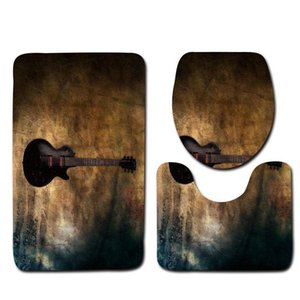 Honlaker 3pcs Guitar Pattern Bathroom Mat Set Toilet Cover And Foot Pad Non-slip Bath Rugs Mats Bath qylHvt bdetoys