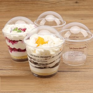 200ml Transparent Tiramisu Ice Cream Cup Plastic Mousse Cake Cup Disposable Jelly Cup with Cover Pudding Dessert Sets Party Supplies