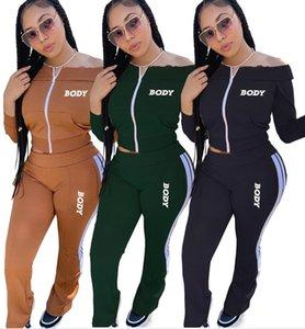 Женщины Дизайнеры одежды тела письма с плеча с длинным рукавом молнии куртки Брюки Вышивание два кусочка Эпикировка Спортивные костюмы D102805