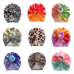 12 colors Cute Infant Toddler Tie dye Ball Knot Indian Turban cap Kids Spring Autumn Caps Baby Donut Hat Leopard Cotton Hairband Z1900