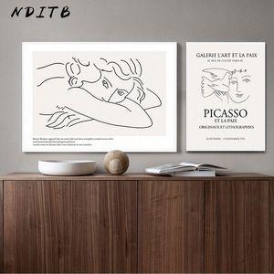 Picasso Matisse Art Dessin au trait Poster Résumé Minimaliste Wall Art TOILE célèbre peinture décorative Image Moder EOdy #