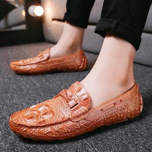 2020 Нового Doug обуви мужской лето Корейского Стиль Alligator Pattern Leather Shoes Social умники Слип-на повседневной мужской обуви