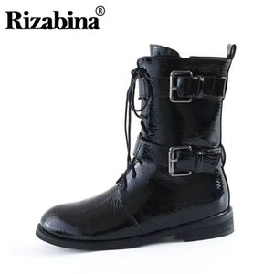 RizaBina Women Zipper Genuine Leather Mid Calf Boots Cross Strap Buckle Fashion Motorcycle Boots Footwear Short Size 34-44