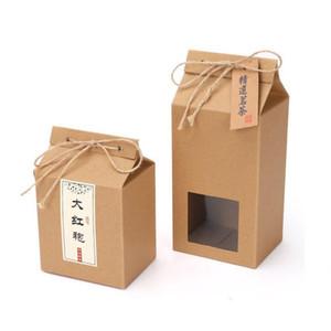 Té Embalaje Caja de cartón kraft bolsa de papel doblado Alimentos tuerca té caja de almacenamiento de la comida de pie encima del papel de embalaje bolsa