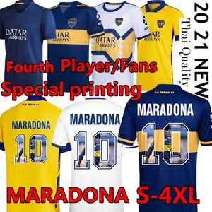 4XL Maradona Boca Juniors 4. Fussball Jersey Fans Spielerversion Vierter Maradona Batistuta Spezialdruck 2020 2021 MAILTOT DE FUCE Uniform