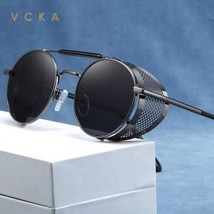 VCKA Men Fashion Gothic Steampunk Sun Glasses Brand Designer UV400 Vintage Round Women Steam Punk Polarized Sunglasses Oculos