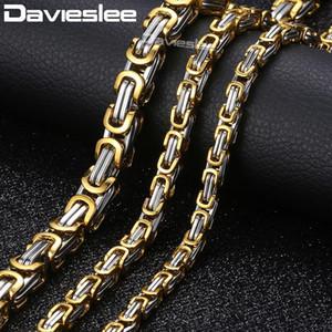 Davieslee البيزنطية صندوق سلسلة قلادة للرجال الفولاذ المقاوم للصدأ ذهبية فضية اللون الرجال قلادة الأزياء والمجوهرات 06/05 / 8MM LKNM20