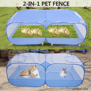 Foldable Pet Playpen Exercise Cage Outdoor Mesh Shade Cover Portable Dog Tent Garden Duck Fence Kennel Cat Nest Pet House