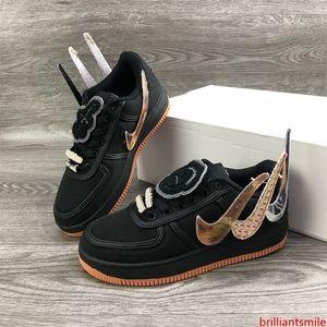 Travis Scott Air Forc 1 Low AF1 Schwarz AQ4211-100 Designer Herren Schuhe Hommes Luxus Slipper Basket Brettschuhe Sneakers Sport 36-45