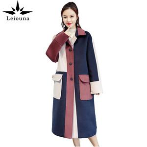 Leiouna Long Slim Fashion Women's Spring Wool Windbreaker Jacket Fashion Stitching Ladies Medium Autumn Female Woolen Coat 201022