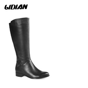 LIDIAN 2020 Women high boots Full Grain Leather stone print back Low stacked Heels winter Boots short plush inside H23