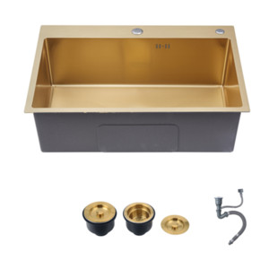 Gold kitchen sinks above counter for undermount sink Vegetable Washing basin Sinks 304 Stainless Steel single bowl 53x43cm