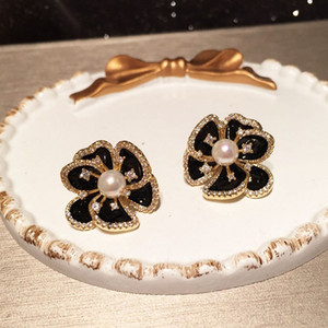 Sparkling 3d flower pearl zirconia diamond earrings fashion luxury designer stud earrings for woman girls S925 post