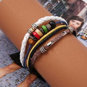 2020 Fashion New Bracelet Five-Layer Color Wooden Beads Wax Rope Leather Rope Braided Beaded Bracelet Wholesale