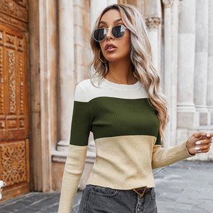 Slim Striped Woman Sweater Fall Long Sleeve Contrast Color Womens Sweaters Fashion O Neck Knitted Short Pullover Sweter 201019