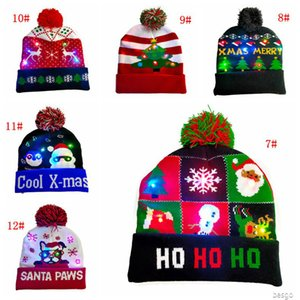 LED Christmas Hat Pom Pom Knitted Beanie Cap Elk Christmas Light Up Knitted Hats Christmas Gift for Kids Xmas New Year Decorations BC BH4126
