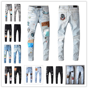 2021 Mens Fashion Skinny Dritto Slim Slim Ripped Jean Elastico Casual Moto Motociclista Bicicletta Stretch Denim Pantaloni classici Pantaloni classici Jeans Dimensioni 28-40
