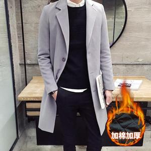Nice Winter New Men Fashion Boutique Thick Warm Woolen Coat   Mens Coat Jacket Men Solid Color Long Woolen Windbreaker