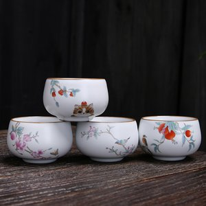 Large Capacity Tea Bowl Single Cup New Arrival Tea Small Teacup Ruyao Opening Master Cup Ceramic Teacup