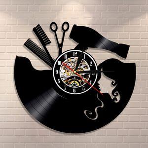 Comb Scissors Hair Dryer Beauty Salon Wall Clock Hairdresser Vinyl Record Clock Vintage Barber Wall Sign Haircut Wall Art Clock