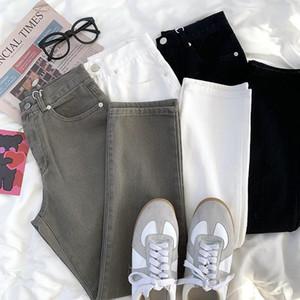 Yeeloca Bahar Çok Renkli Çok Yönlü Denim Düz Pantolon Kadın Yüksek Bel Ince Basit Pantolon Vintage Rahat Kot