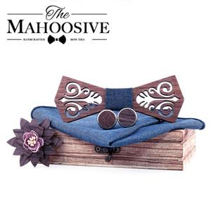 Mahoosive Tie Деревянных бабочек papion человек Бод Coffret Када Ьотта вырезанный модели с синим платочком Запонкой 201027