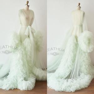 Mint Green Maternity Dresses A Line Long Sleeve Maternity Gown for Photoshoot Boudoir Lingerie Ruffled Bathrobe Nightwear Babydoll