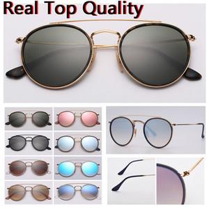 calidad verdadera top model mujeres gafas de sol gafas de sol hombres de las mujeres de puente doble redondo con estuche de cuero negro o marrón, y todo el paquete al por menor!