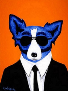 .33 Cool Blue Dog with glasses High Quality Hand Painted &HD Print Wall Decor Art Oil painting on canvas Mulit size